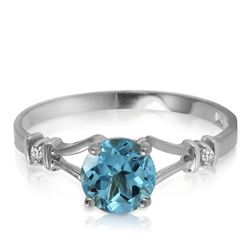 Genuine 1.02 ctw Blue Topaz & Diamond Ring Jewelry 14KT White Gold - GG#1191 - REF#28V3W