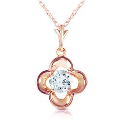 Genuine 0.55 ctw Aquamarine Necklace Jewelry 14KT Rose Gold - GG#2444 - REF#20H9X