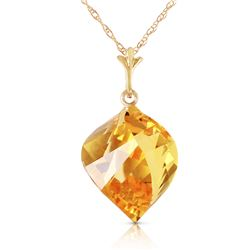 Genuine 11.75 ctw Citrine Necklace Jewelry 14KT Yellow Gold - GG#4645 - REF#26Z7N