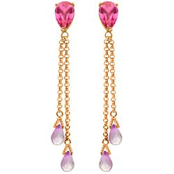 Genuine 7.5 ctw Pink Topaz Earrings Jewelry 14KT Rose Gold - GG#1696 - REF#39N3R