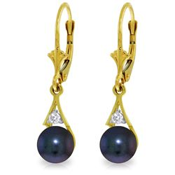 Genuine 4.06 ctw Black Pearl & Diamond Earrings Jewelry 14KT Yellow Gold - GG#3559 - REF#40W5Y
