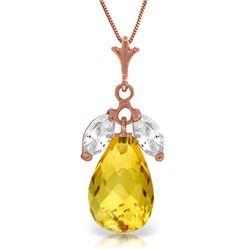 Genuine 7.2 ctw Citrine & White Topaz Necklace Jewelry 14KT Rose Gold - GG#4436 - REF#30R5P