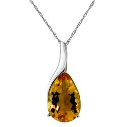 Genuine 5 ctw Citrine Necklace Jewelry 14KT White Gold - GG#1627 - REF#31P9H
