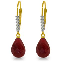 Genuine 17.75 ctw Ruby & Diamond Earrings Jewelry 14KT Yellow Gold - GG#3305 - REF#41R6P