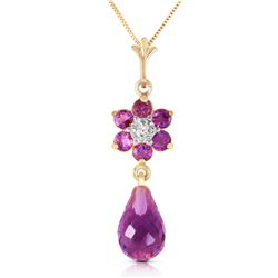 Genuine 2.78 ctw Amethyst & Diamond Necklace Jewelry 14KT Yellow Gold - GG#3453 - REF#31W2Y