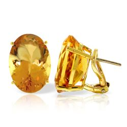 Genuine 13 ctw Citrine Earrings Jewelry 14KT Yellow Gold - GG#1860 - REF#57K3V