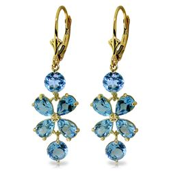 Genuine 5.32 ctw Blue Topaz Earrings Jewelry 14KT Yellow Gold - GG#1517 - REF#50X3M
