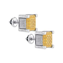 0.2 CTW White & Yellow Diamond Earrings White Rhodium Silver - GD82733-REF#11G3M