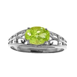 Genuine 1.15 ctw Peridot Ring Jewelry 14KT White Gold - GG#2397 - REF#32A3K
