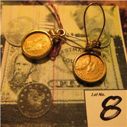 (2) Maximillian Mexico Fantasy Gold Coins in Bezels and suspended from wires forming an attractive p