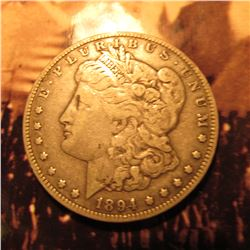 1894 0 Morgan Silver Dollar. F.