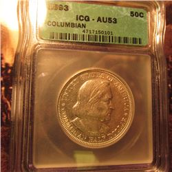 1893 Columbian Exposition Commemorative Half. ICG AU53.