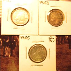 1950 EF, 1953 Toned BU & 1955 BU Canada Ten Cents.