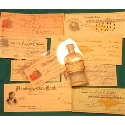 (9) Early 1900 Bank Checks, a couple have Documentary stamps, includes Memphis, Tenn., Belle Fourche