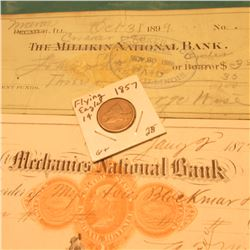 1872 Mechanics National Bank Check with 2c Gold U.S. Internal Revenue Seal; 1899 Maroa, Ill. Crocker