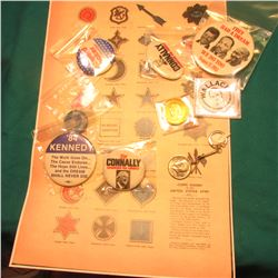 """Corps Badges of the United States Army 1865"" Poster; (8) Kennedy-Wallace Era Pin-backs, Coins, etc."