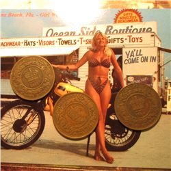1861 & (2) 1864 Nova Scotia Large Cents, VG & a Post Card from Daytona Beach, Florida depicting an a