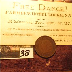 1871 Prince Edward Islands Large Cent, VG; & a ticket to a Mar. 24, 1880 Free Dance! Farmer's Hotel