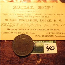 1871 Prince Edward Islands Large Cent, VG; & a ticket to a Jan. 26, 1877 Social Hop! Milan Exchange,