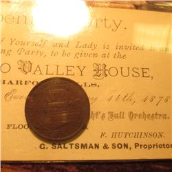 1871 Prince Edward Islands Large Cent, VG; & a ticket to a May 16th, 1878 Opening Party. Harford Mil
