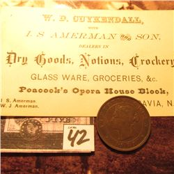 "1871 Prince Edward Islands Large Cent, VF; & a business card ""W.D. Cuykendall with I.S. Amerman and"
