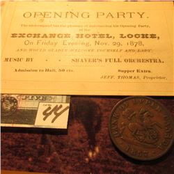 1857 Bank of Upper Canada Half Penny Token, VG; & a ticket to a Nov. 29th, 1878 Opening Party. Excha