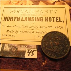 "1854 Bank of Upper Canada Penny Token & a ticket to a ""Social Party…North Lansing Hotel, …Jan. 29, 1"