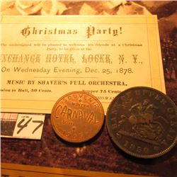 "Dec. 25, 1878 ""Christmas Party!…Exchange Hotel, Locke, N.Y."" Ticket; ""Chibougamau Quebec"", ""Souvenir"