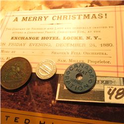 "Dec. 24, 1880 Ticket to ""A Merry Christmas…Party… Exchange Hotel, Locke, N.Y.""; 1850 Bank of Upper C"