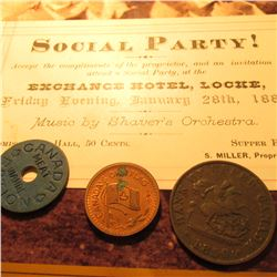 "Jan. 28th, 1881 a ticket to a ""Social Party… Exchange Hotel, Locke, N.Y.""; a World War II Canada Mea"