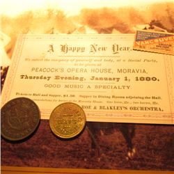 """A happy New year…Peacock's Opera House, Moravia Thursday Evening, January 1, 1880"" Ticket; 1857 Ban"