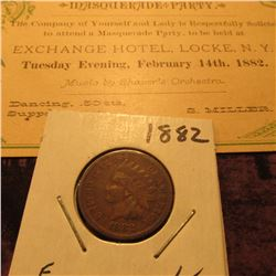 "Feb. 14th, 1882 ""Masquerade Party …Exchange Hotel, Locke, N.Y."" & 1882 Indian Head Cent, Fine."