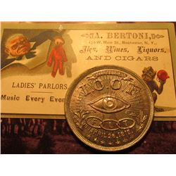 """I.O.O.F. (Odd Fellows Lodge) FLT April 26, 1819"" Stamped by a die on an 1881 Morgan Silver Dollar,"