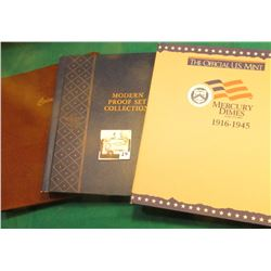 """Coins"" World Coin Library Album; ""Modern Proof Set Collection"" Whitman Album; & ""The Official U.S."