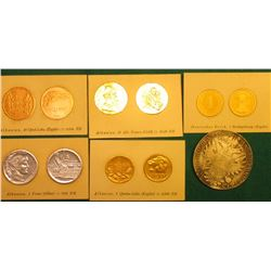 (5) Albania Counterfeit Detector Coin Cards with foil illustrations; & 1820G Austria .8330 fine Silv