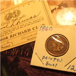 "Membership card ""Philadelphia…The Poor Richard Club…"" & 1860 U.S. Indian Head Cent."