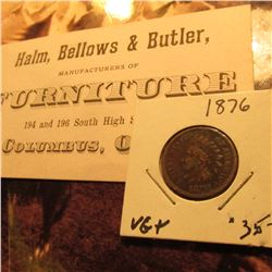 """Halm, Bellows & Butler Manufacturers of Furniture…Columbus, Ohio"" 1876 era Business Card; & 1876 U."