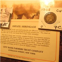"""Estate Shrinkage…City Bank Farmers Trust Company…New York"" Business Card (Copyright 1931) & 1863 Co"