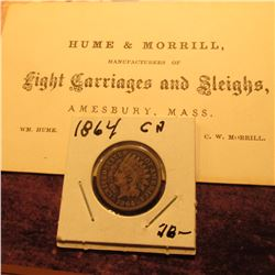 """Hume & Morrill, Manufacturers of Light Carriages and Sleighs, Amesbury, Mass."" Business Card; & 186"