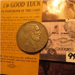 """Good Luck to Purchaser of this Card…"" Beggar's Card & 1868 Netherlands Silver 2 1/2 Gulden, VF-EF."