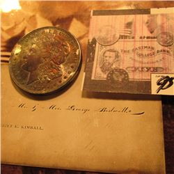 "Business Card ""Mr. & Mrs George Bodwell…Harriet Kimball"" & 1921 P Morgan Silver Dollar, Heavy Rainbo"