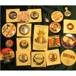"""Presidential Campaign Memorabilia…Tucson, Az…"" Business Card & (18) Different old Presidential Camp"