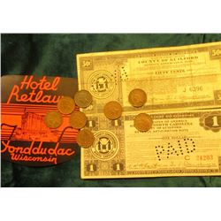 """Hotel Retlaw Fond du Lac Wisconsin"" Sticker; 50c & $1 Depression Scrip United States of America Sta"