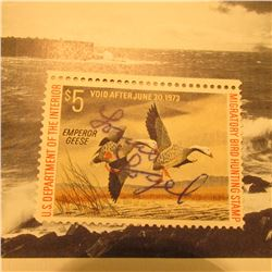 RW39 Signed U.S. Department of the Interior Migratory Bird Hunting Stamp. No gum.