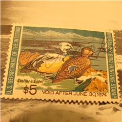 RW40 Signed U.S. Department of the Interior Migratory Bird Hunting Stamp. Partial gum.