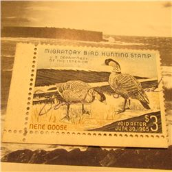 RW30 Signed U.S. Department of the Interior Migratory Bird Hunting Stamp. Partial gum.