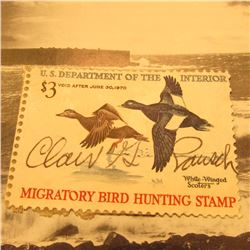 RW36 Signed U.S. Department of the Interior Migratory Bird Hunting Stamp. Attached to paper.