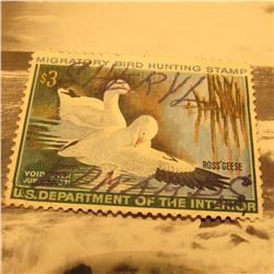 RW37 Signed U.S. Department of the Interior Migratory Bird Hunting Stamp. No gum.