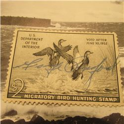 RW18 Signed U.S. Department of the Interior Migratory Bird Hunting Stamp. Partial Gum.