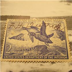 RW19 Signed U.S. Department of the Interior Migratory Bird Hunting Stamp. Partial Gum.
